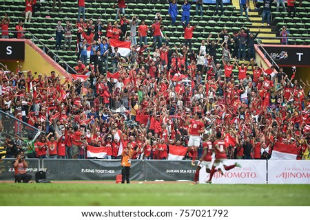 Shah alam,Malaysia,15aug2017:Unidentified supporters celebrate during SEAGames 28th between Thailand against Indonesia at Shah alam stadium,Malaysia