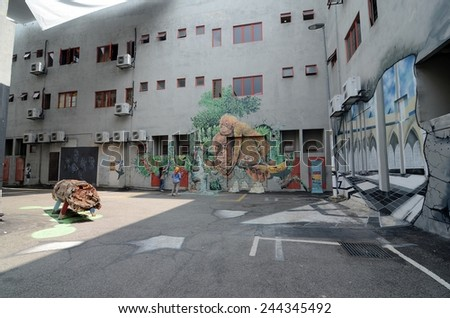 SHAH ALAM, MALAYSIA-JANUARY 7: Unidentified Street Mural painted in Shah Alam on January 7, 2015. It was painted in conjunction with the 2014 Street Art Selangor Festival - stock photo