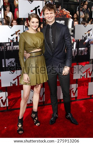Shailene Woodley and Ansel Elgort at the 2014 MTV Movie Awards held at the Nokia Theatre L.A. Live in Los Angeles on April 13, 2014 in Los Angeles, California.  - stock photo