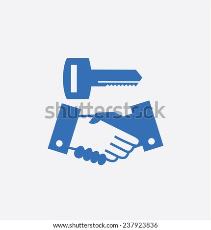 Shake a hand with key - stock photo