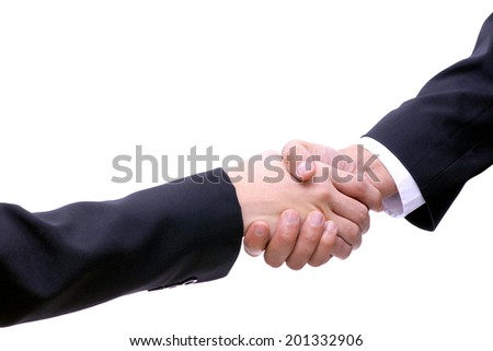 Shake-hand connection. Business negotiations - stock photo