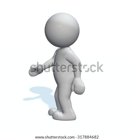 shake hands - 3D People isolated - stock photo