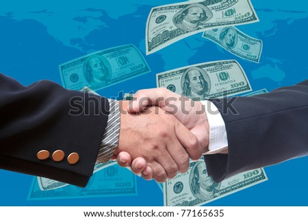 Shake hands with bank note background