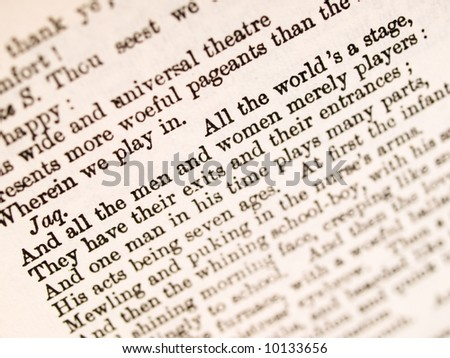 "Shakespeare ""All the world 's a stage"" quotation from 'As You Like It' - stock photo"