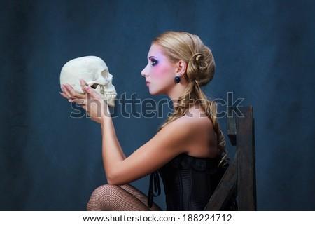 Shakespeare's Hamlet, female version - stock photo