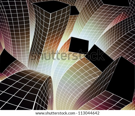 shaking building in the happy city. - stock photo