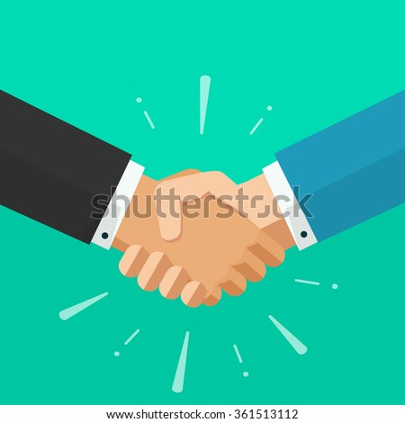 Shaking hands business illustration with abstract rays, symbol of success deal, happy partnership, greeting shake, handshaking agreement flat sign modern design isolated on green background image - stock photo