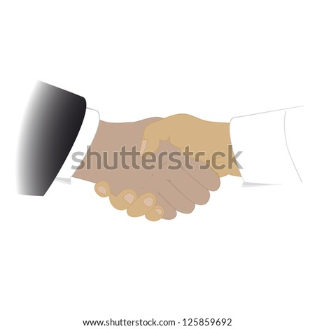 shaking hands, isolated on a white background - stock photo