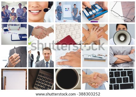 Shaking hands over eye glasses and diary after business meeting against notebook, keyboard, and coffee mug - stock photo