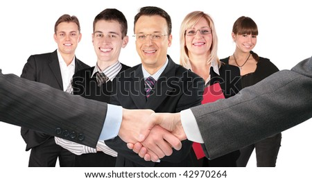 shaking hands with wrists and five business group collage - stock photo