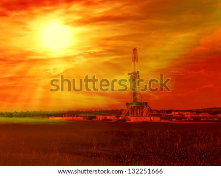 Shale gas drilling with sunrise in the province of Lublin, Poland. - stock photo