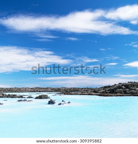 Shallow blue waters and beautiful sky - stock photo