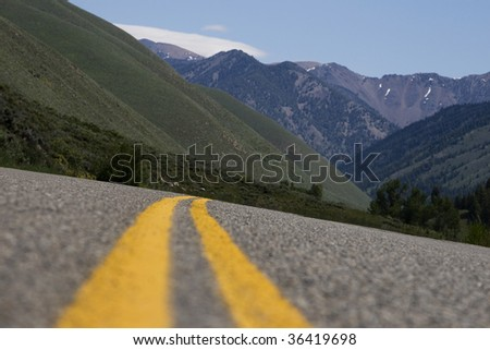 shallow depth horizontal street view in Sun Valley, ID - stock photo