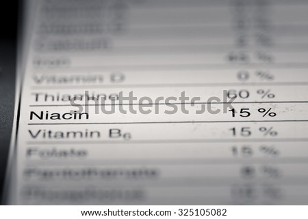 Shallow depth of Field image of Nutrition Facts Niacin Information we can find on a grocery Store Product.