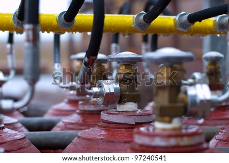 shallow depth off field picture off manifold valves - stock photo