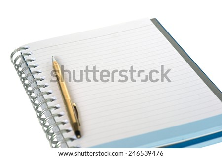 Shallow DOF of empty strip line notebook with twisted gold pen on left side of page isolated on white background - stock photo