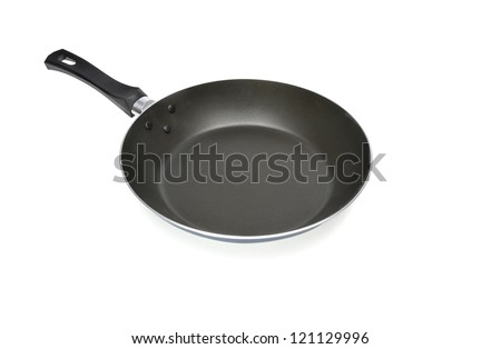 shallow frying pan on white background - stock photo
