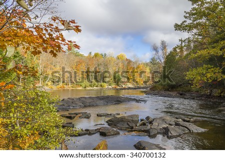Shallow River Winding Through a Forest in Autumn - Ontario, Canada - stock photo