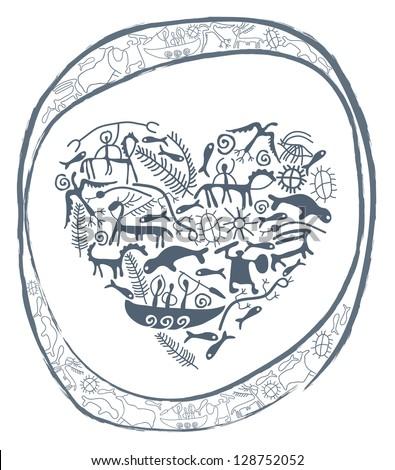 shamanic heart in ornamental circle - stock photo