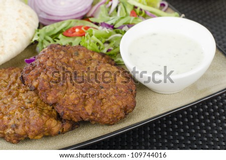 Shami Kebabs - A couple of spicy lamb kebab patties served with mint raita, crunchy salad, pitta bread and raw red onions. Close up. - stock photo