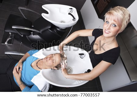 Shampoo at the beauty salon - stock photo