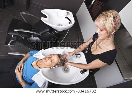 Shampoo at the beauty salon - stock photo