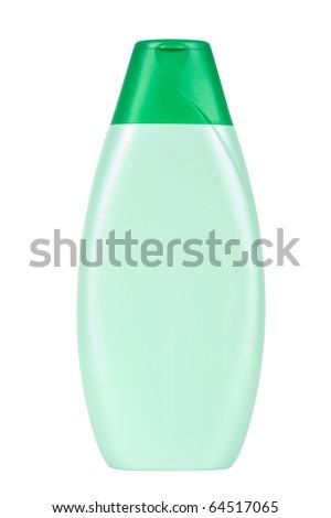 Shampoo bottle isolated on white - stock photo
