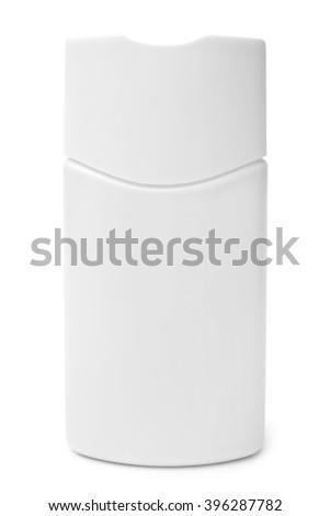 Shampoo bottle on white background - stock photo