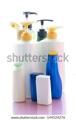 Shampoo bottles. - stock photo