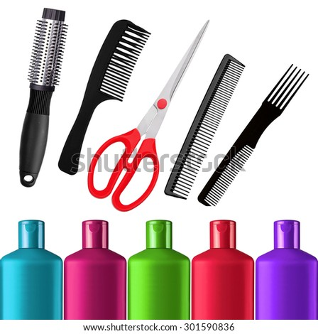 Shampoo bottles, red scissors and combs isolated on white background - stock photo