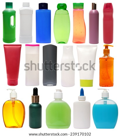 shampoo. colored plastic bottles with liquid soap and shower gel isolated on white background . Studio shooting. Set. close up of beauty hygiene container on white background  - stock photo