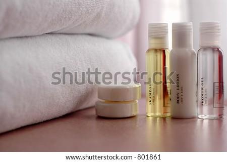 shampoo shower gel body lotion - stock photo
