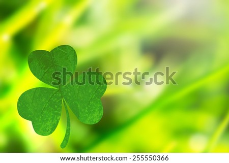 Shamrock against dew on the green grass - stock photo