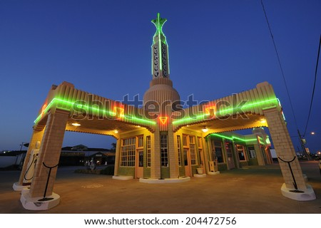 Shamrock, Texas, USA - March. 28. 2012: Historic U-Drop Inn, former diner built in 1936 along historic Route 66 with art deco architecture, appeared as the shop image in animated film Cars in 2006 - stock photo