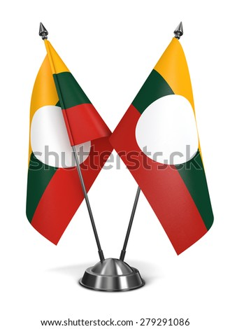 Shan State - Miniature Flags Isolated on White Background. - stock photo