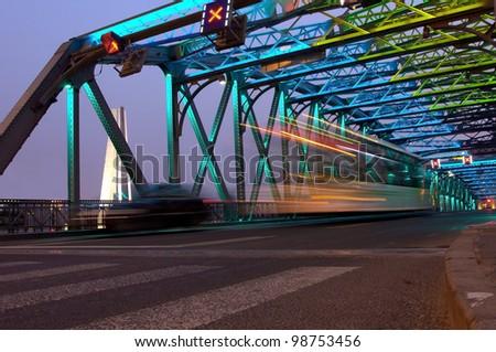 Shanghai Bridge traffic at dusk - stock photo