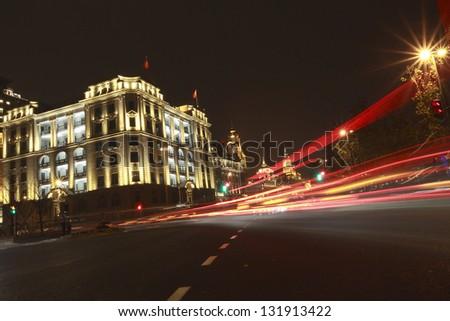 Shanghai Bund European-style buildings landscape lighting - stock photo