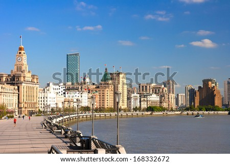 Shanghai Bund historical buildings,China - stock photo