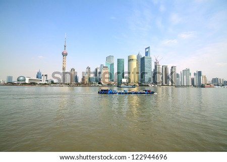 Shanghai Bund modern architecture cityscape skyline in the Far East