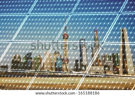 Shanghai Bund skyline landmark ,Ecological energy renewable solar panel plant - stock photo