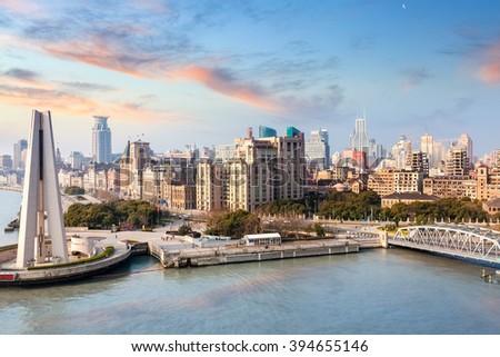 shanghai bund with morning glow , beautiful modern city, China - stock photo