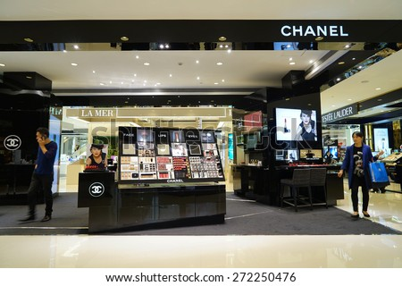 SHANGHAI, CHINA - APRIL. 22, 2015: Interior of the IFC Shopping Mall at Lujiazui. CHANEL inside.Chanel is a high fashion house, founded in 1909; there are about 310 Chanel boutiques worldwide.