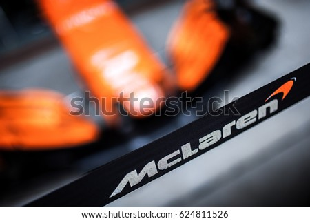 Shanghai, China - April 6-9, 2017: McLaren Honda Logo at Formula One Chinese Grand Prix at Shanghai Circuit.