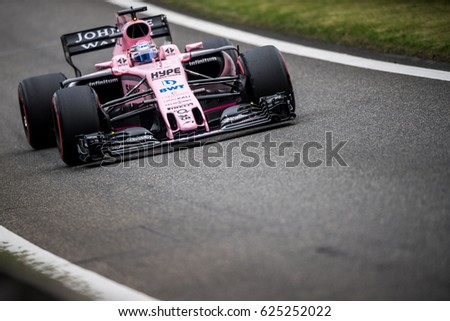 Shanghai, China - April 8, 2017: Sergio Pérez driver of Force Inidia F1 Team at Formula One Chinese Grand Prix at Shanghai Circuit.