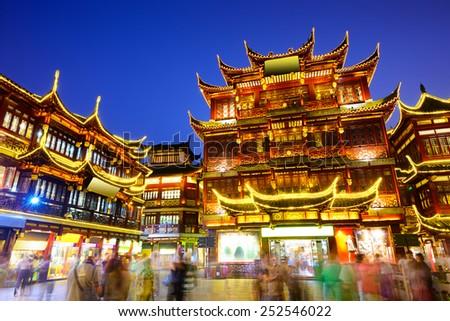 Shanghai, China at Yuyuan Garden district. - stock photo