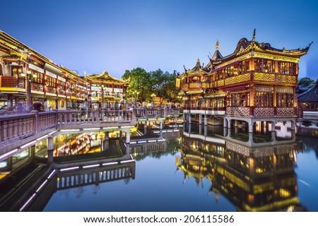 Shanghai, China at Yuyuan Gardens. - stock photo