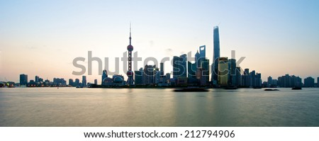 Shanghai, China - August 6, 2014: A beautiful view of Shanghai Skyline at sunrise with all the tall buildings. - stock photo
