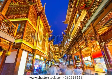 Shanghai, China citycape at Yuyuan district. - stock photo