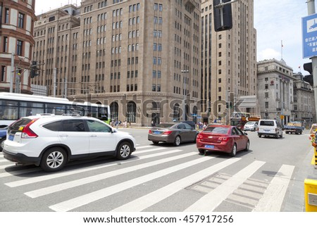 Shanghai,China - June 26,2016 : The old and classic building and traffic road in the Bund in Shanghai,China on June 26,2016.