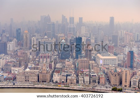 SHANGHAI, CHINA - MAR 31, 2016: Panoramic view of Shanghai from the Oriental Pearl Radio and TV Tower.